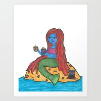 Reading Mermaid  Art Print