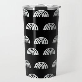 Linocut rainbow black and white half circle geometric minimalist nursery dorm college pattern Travel Mug