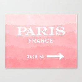 pink ombre watercolor paris france Canvas Print