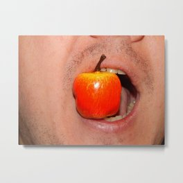 Mimicry of the human mouth with objects Metal Print
