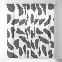 Black Pebbles Motif Sheer Curtain
