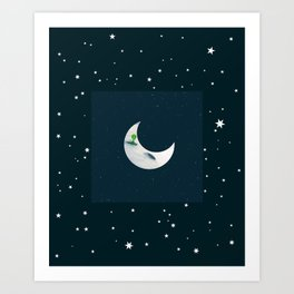 Little Green Man on Moon and Stars Art Print