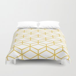 Geometric Honeycomb Lattice in Mustard Yellow and White. Modern Clean Minimalist Duvet Cover