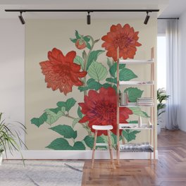 Red dahlias Wall Mural