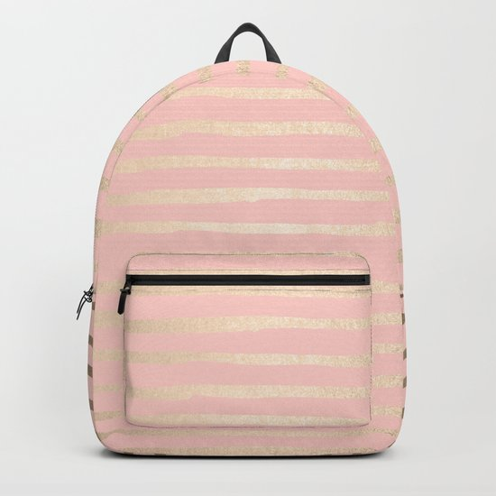 Abstract Stripes Gold Coral Light Pink Backpack