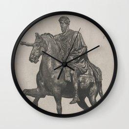 Vintage Marcus Aurelius Statue Illustration (1889) Wall Clock