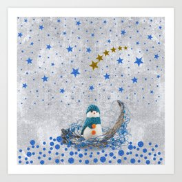 Snowman with sparkly blue stars Art Print