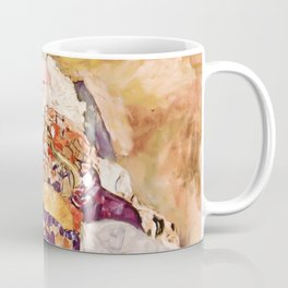 Baby by Gustav Klimt 1908 // Color Enhanced Oil Canvas Painting of Child Covered in Colorful Fabrics Coffee Mug