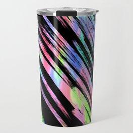 Abstract pink teal lime green black watercolor brushstrokes Travel Mug
