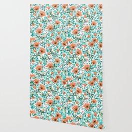 Tangerine Dreams, Orange & Mint Botanical Jungle Watercolor Painting, Colorful Plants Floral Summer Wallpaper