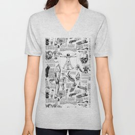 Da Vinci's Anatomy Sketchbook Unisex V-Neck