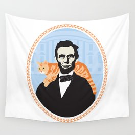 Abe Lincoln the first president to bring a cat to the White House Wall Tapestry