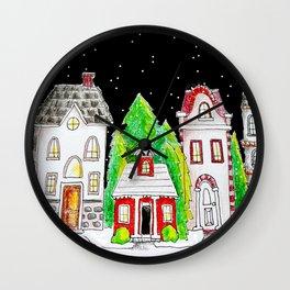 Snowy Village Wall Clock