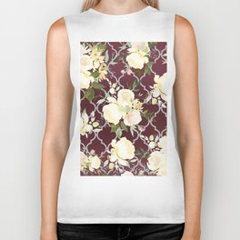 Country chic burgundy white quatrefoil watercolor floral Biker Tank