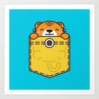 pocket Art Prints featuring Pocket Tiger by Steven Toang