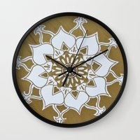 golden Wall Clocks featuring Golden by Aries Art