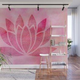 Zen Watercolor Lotus Flower Yoga Symbol Wall Mural