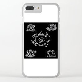 Floral Tea Kettle Tea Cups and Saucers Set Illustration Clear iPhone Case