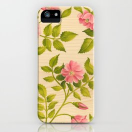 Pink Wild Rose on Wood Panel iPhone Case