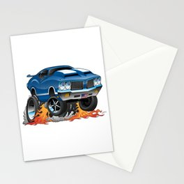 Classic Seventies American Muscle Car Hot Rod Cartoon Illustration Stationery Cards