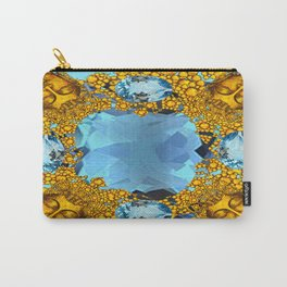 Aquamarine Gems Golden Faces Jewelry Design Carry-All Pouch