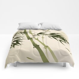 Oriental style painting, bamboo branches Comforters