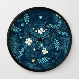Dark floral delight Wall Clock