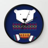 polar bear Wall Clocks featuring Polar Bear by Marco Recuero