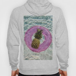 Floating with Inner Tube on Cool Sunny Water Pineapple Fruit Summer Happiness Pop Art Modern Print Hoody
