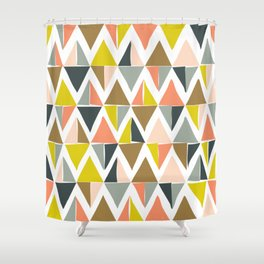 Colorful Geometric Triangle Pattern Shower Curtain