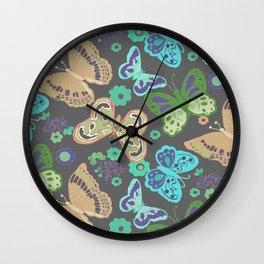 Butterflies on Grey Wall Clock