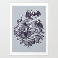 kaiju Art Prints featuring Lucha Kaiju by Jonah Makes Artstuff