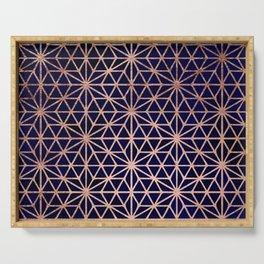 Modern rose gold stars geometric pattern Christmas navy blue watercolor Serving Tray