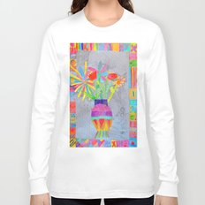 Flower Vase | Kids Painting | 3D Collage Long Sleeve T-shirt