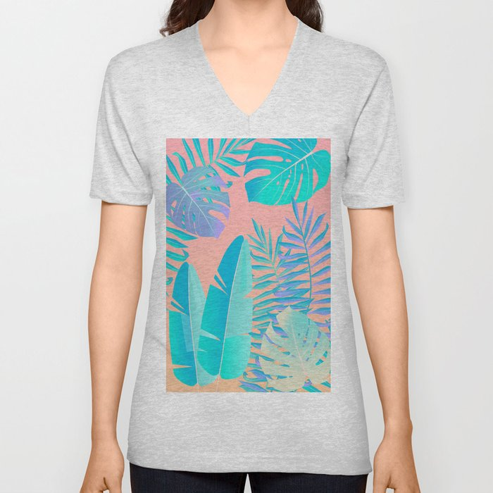 Tropics ( monstera and banana leaf pattern ) Unisex V-Neck