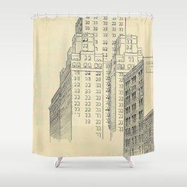 Vintage Skycrapers Shower Curtain