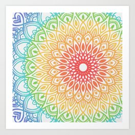 Rainbow Colored Mandala Art Print