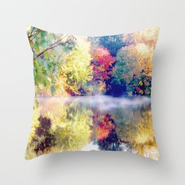 autumn morning photography landscape Throw Pillow