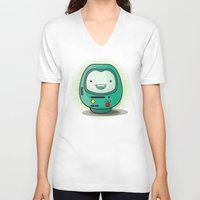 bmo V-neck T-shirts featuring Daruma: BMO by Monstruonauta