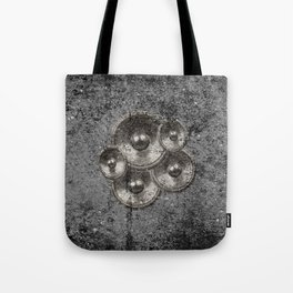 Music speakers on a concrete wall Tote Bag