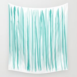 Mint watercolor stripes pattern Wall Tapestry