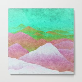 Through hilly lands and hollow lands - turqouise-violet-white option Metal Print