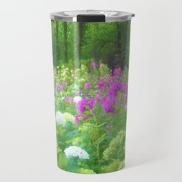 Annabella Hydrangeas and Purple Garden Landscape Travel Mug
