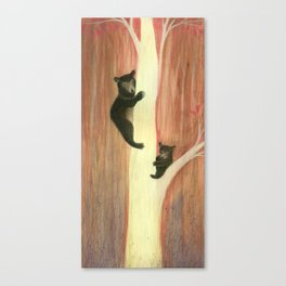 Black bears on tree Canvas Print
