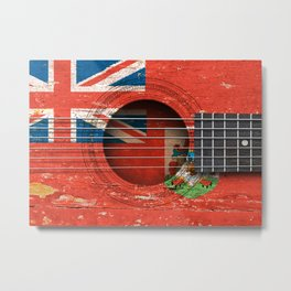 Old Vintage Acoustic Guitar with Bermuda Flag Metal Print
