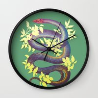 snake Wall Clocks featuring Snake by The Wildest Little Things