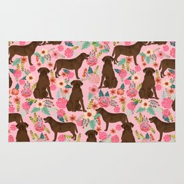 Chocolate Labrador Retriever dog floral gifts must haves chocolate lab lover Rug
