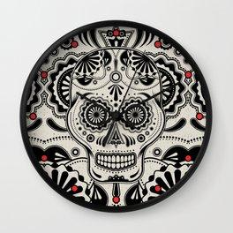 Sugar Skull Art B&W Wall Clock