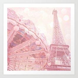Paris Pink Eiffel Tower Carousel Art Print