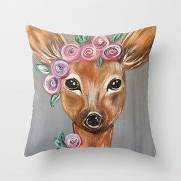 Oh Deer!  Fawn Painting Deer Print Throw Pillow